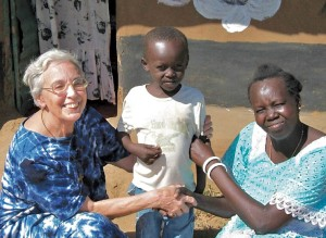 Sister Theresa with Esther and her son Junior in Sudan.